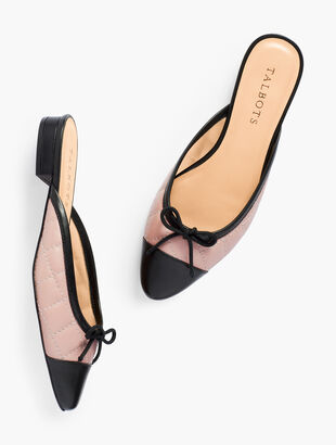 Edison Quilted Cap-Toe Mules - Nappa