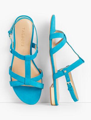 Keri T-Strap Sandals - Suede
