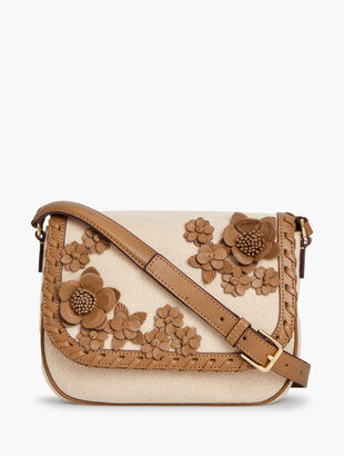 Canvas Leather Floral Crossbody Bag