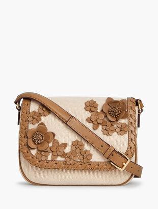Canvas Leather Floral Crossbody Bag