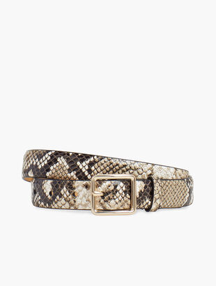 Pebbled Leather Snakeskin Belt
