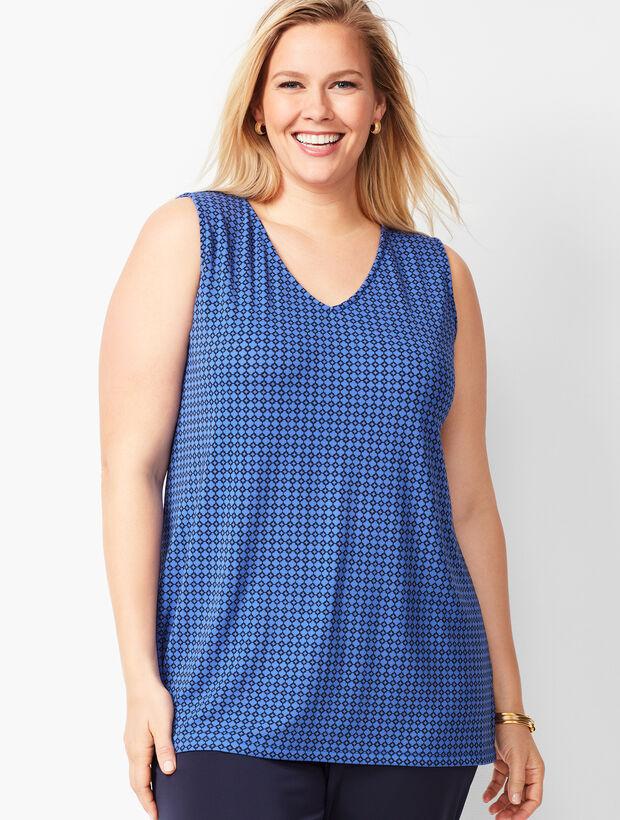 Plus Size Knit Jersey Shell - Geometric
