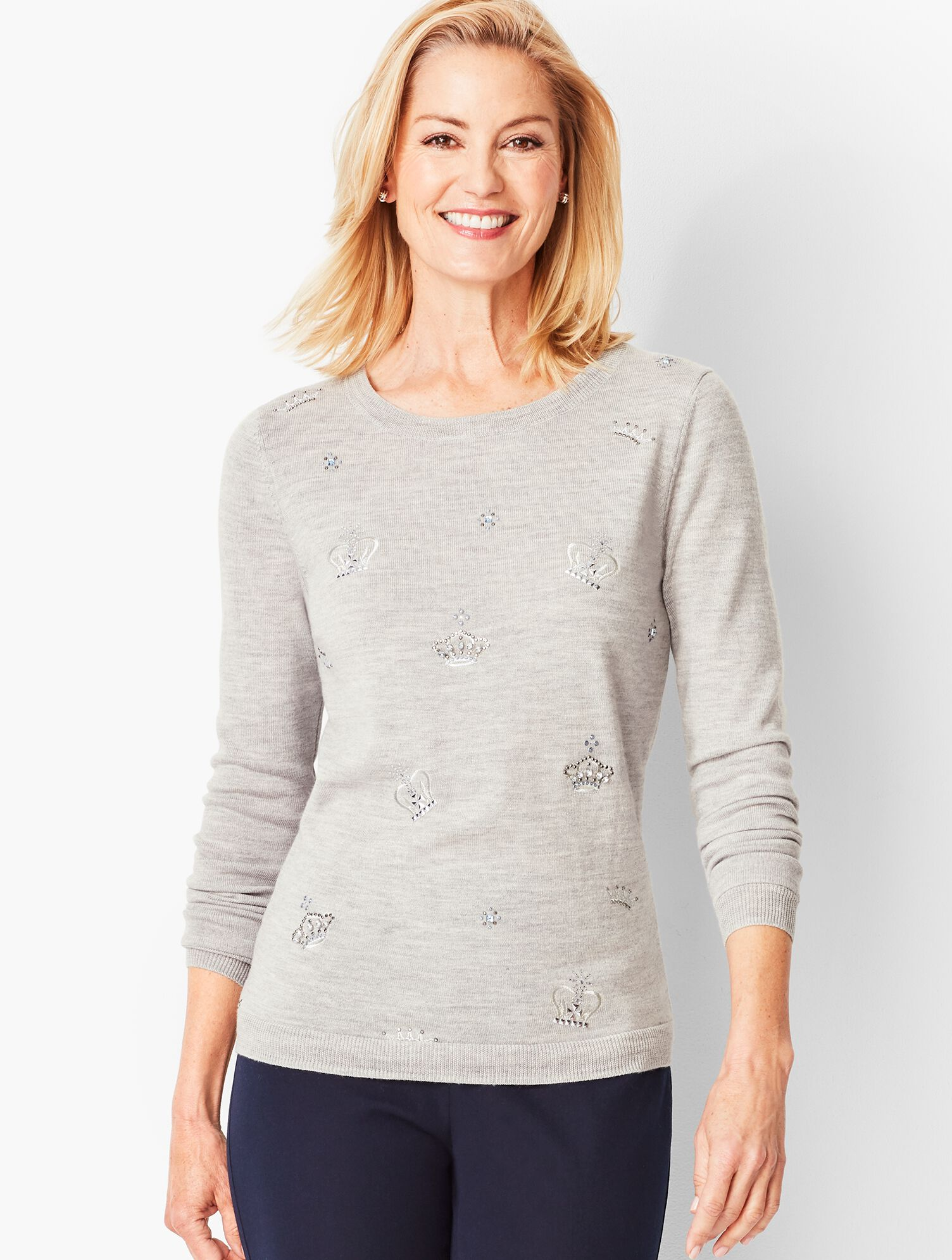 Embroidered & Beaded Merino Sweater | Talbots