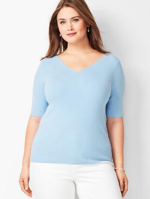 fc965319625f8 Scallop-Trim V-Neck Sweater