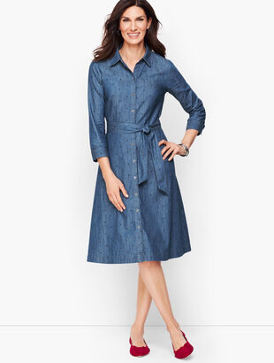 Dot Denim Belted Shirtdress