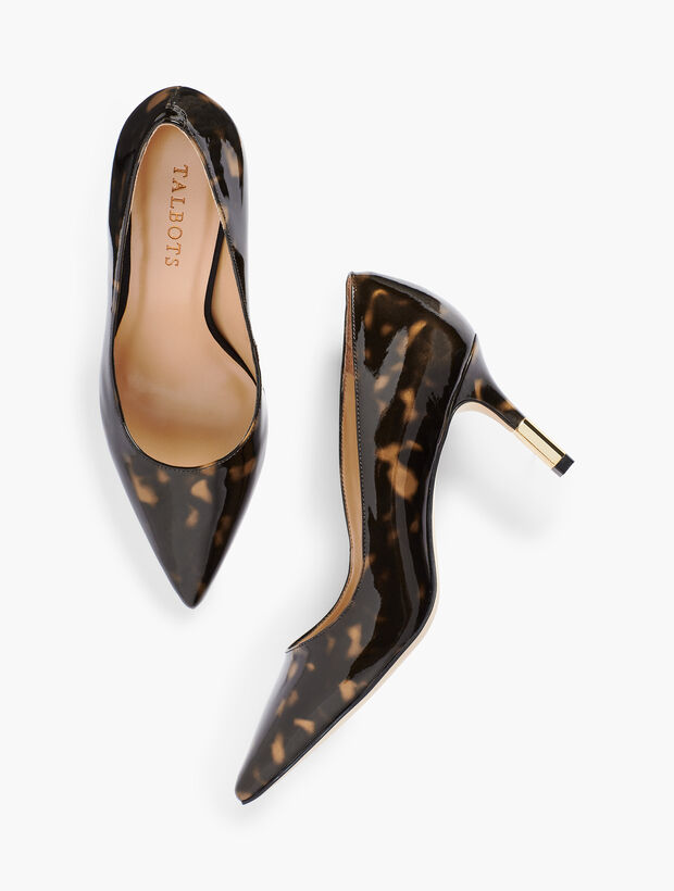 Erica Gold-Tipped Heel Pumps Tortoise