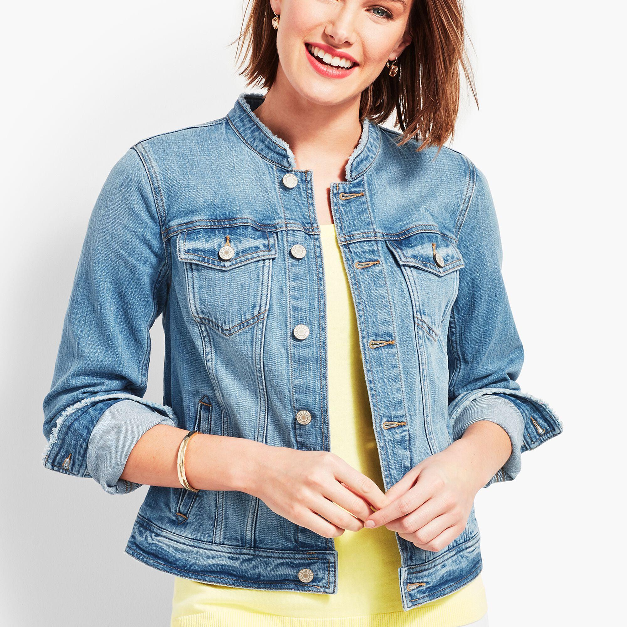 37092366 Frayed-Collar Stretch Denim Jacket