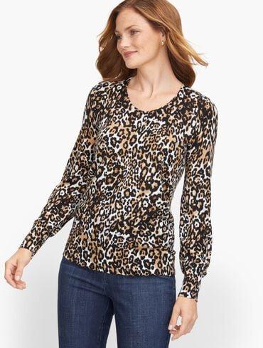 Soft Merino V-Neck Sweater - Leopard Print