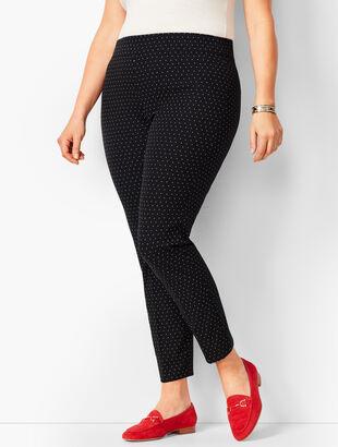 Bi-Stretch Pull-On Skinny Ankle Pants - Dot