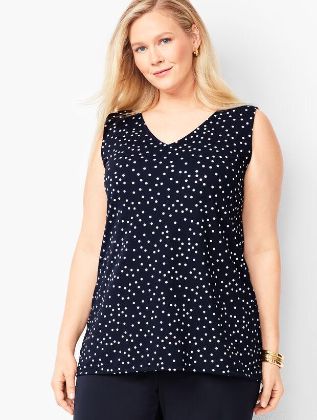 Plus Size Knit Jersey V-Neck Shell - Dot Print
