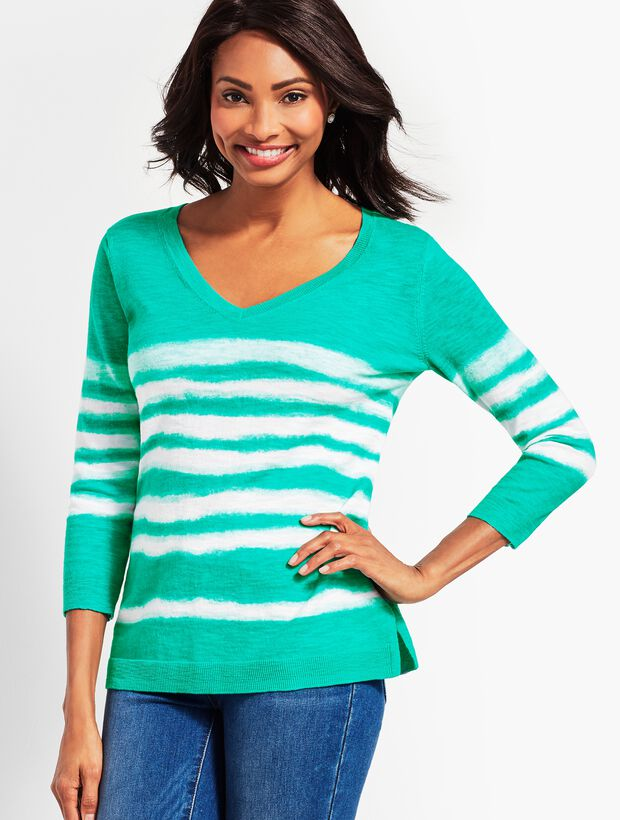 Tie-Dye V-Neck Sweater