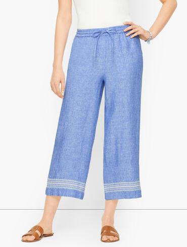 Linen Wide Leg Crop Pants - Cross Dyed