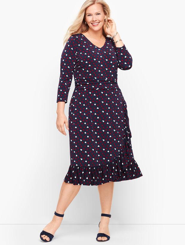 Heart Print A-Line Jersey Sheath Dress