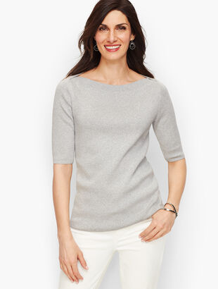 Bateau Neck Sweater Topper - Shimmer