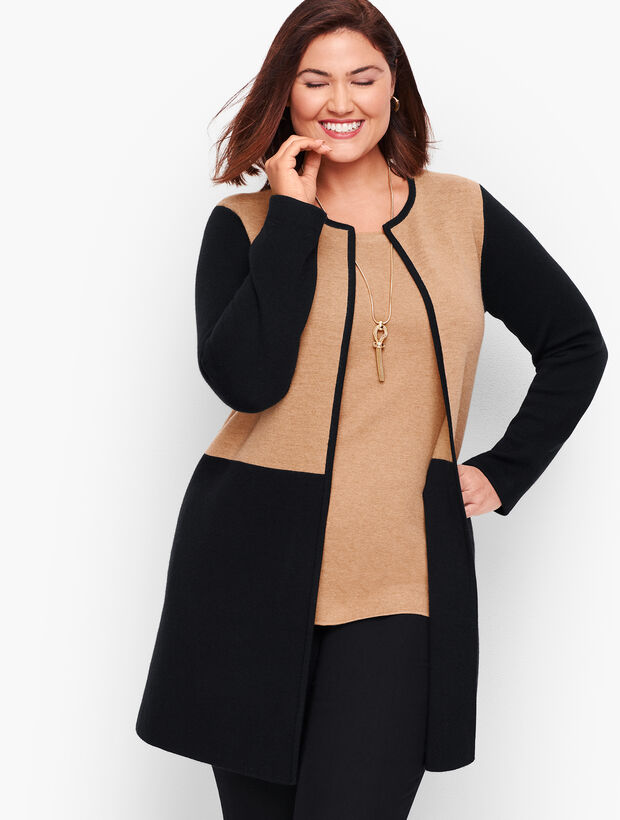 Merino Blend Colorblock Sweater Jacket