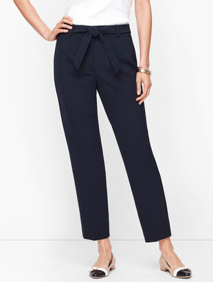 Stretch Crepe Tie Waist Pants - Solid