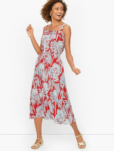 Oasis Palm Voile Fit & Flare Dress