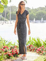 Marled Soft-Drape Jersey Drawstring-Waist Dress