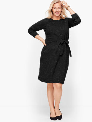 Tweed Side Tie Sweater Dress
