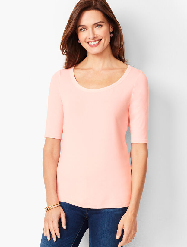 Platinum Jersey Scoop-Neck Top - Solid