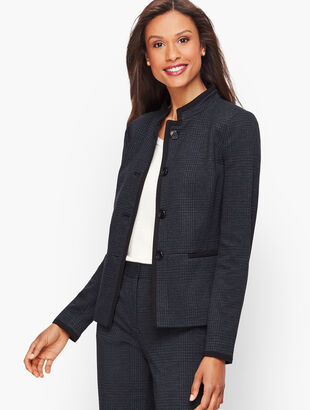 Luxe Knit Plaid Blazer