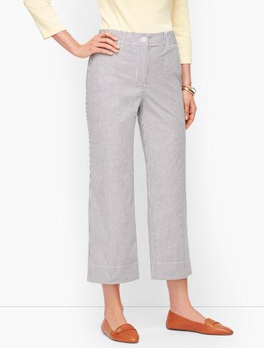 Wide Leg Crop Chinos - Oxford Stripe