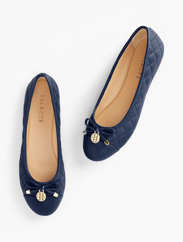 Penelope Charm Quilted Leather Flats