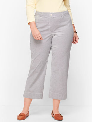 Wide Leg Crop Chinos - Oxford Stripe