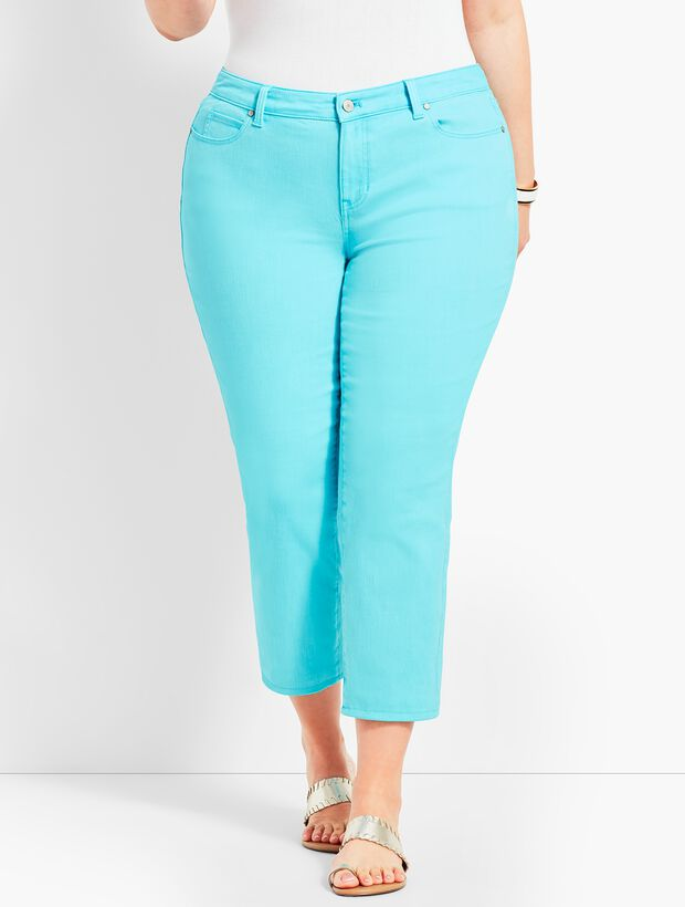 Garment-Dyed Colored Denim Straight Leg Crop