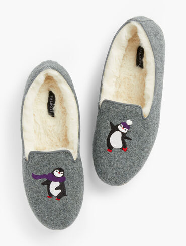 Penguin Embroidered Flannel Fireside Slippers