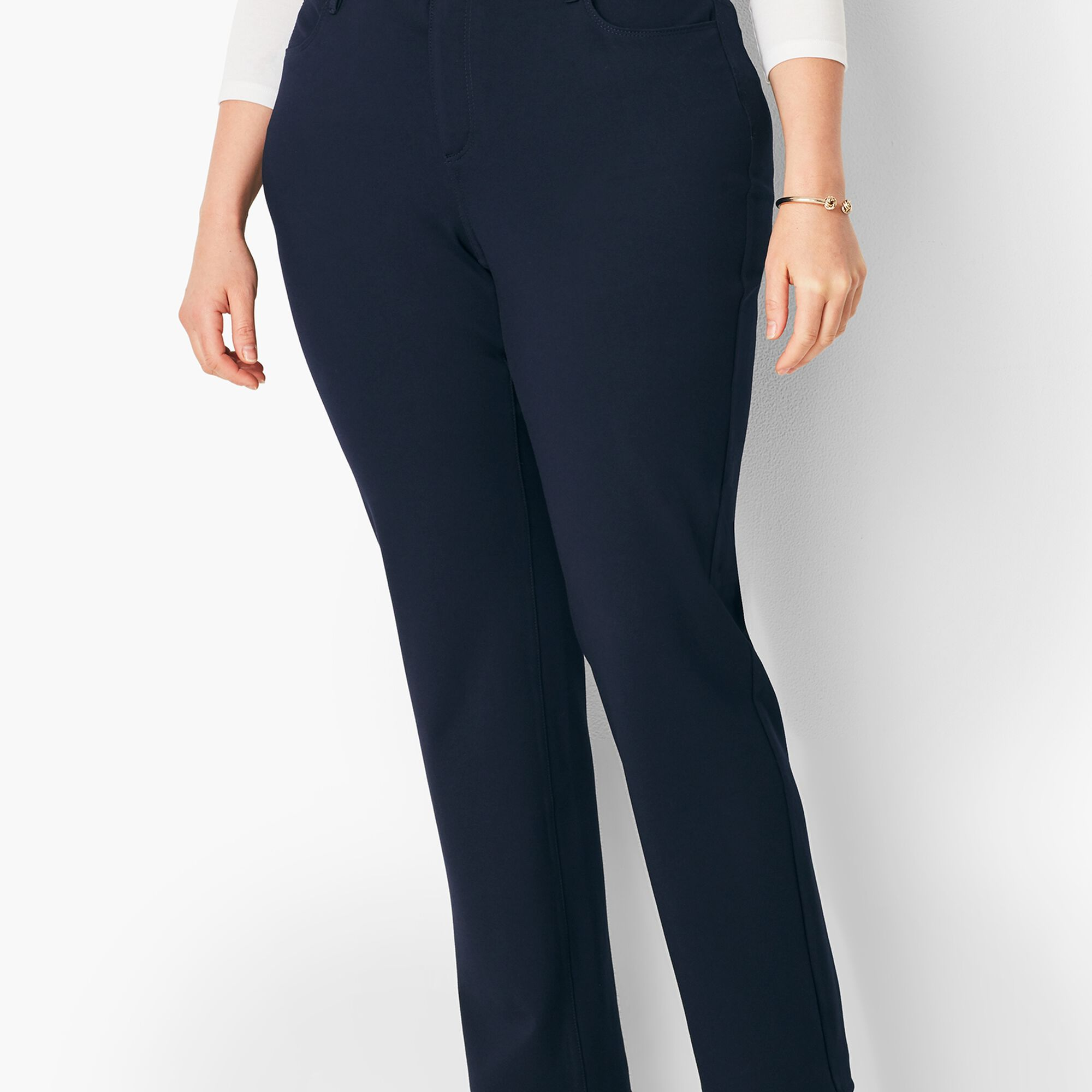 a0c18d545c5 Images. Plus Size High-Rise Straight-Leg Pants - Ponte Curvy Fit