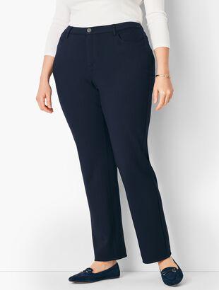 Plus Size High-Rise Straight-Leg Pants - Ponte/Curvy Fit