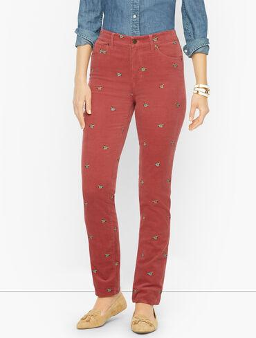 Stretch Corduroy Straight Leg Pants - Mallard Embroidered
