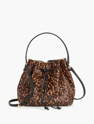 Calf Hair Drawstring Bucket Bag