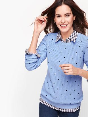 Pima Cotton Shaker Stitch Sweater - Dot