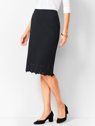 Ponte Embroidered-Hem Pencil Skirt