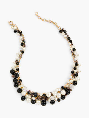 Clustered Pearl Statement Necklace