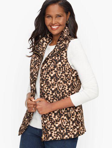 Down Puffer Vest - Leopard Print