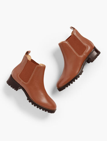 Tish Pebbled Leather Chelsea Boots