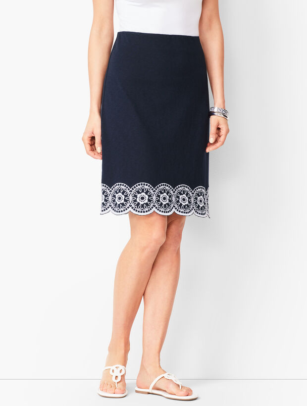 Embroidered Slub-Cotton A-Line Skirt