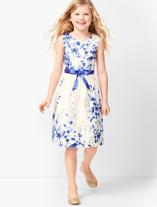Girls Pastel Floral Fit & Flare Dress