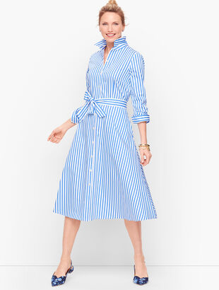 Classic Poplin Shirtdress - Vertical Stripe
