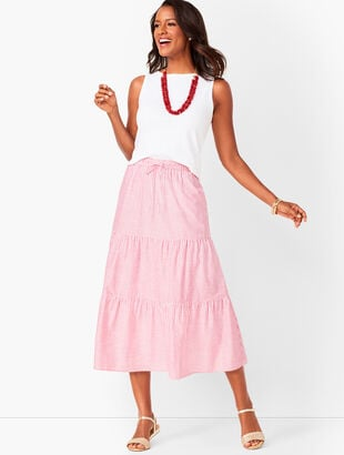 Tiered Cotton Midi Skirt