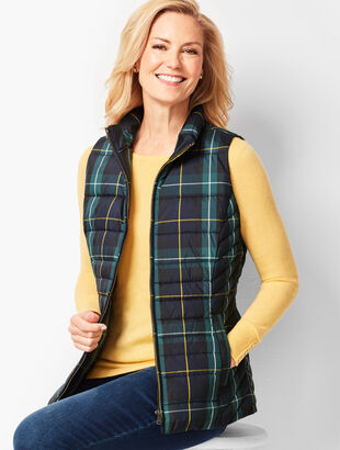 Plaid Down Puffer Vest