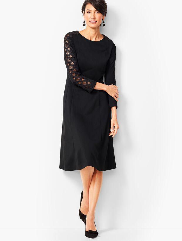 10e5a947d38 Lace Sleeve Ponte Fit   Flare Dress