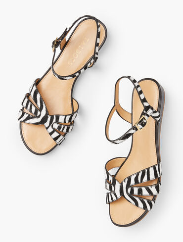 Daisy Micro Wedge Sandals - Haircalf Leather