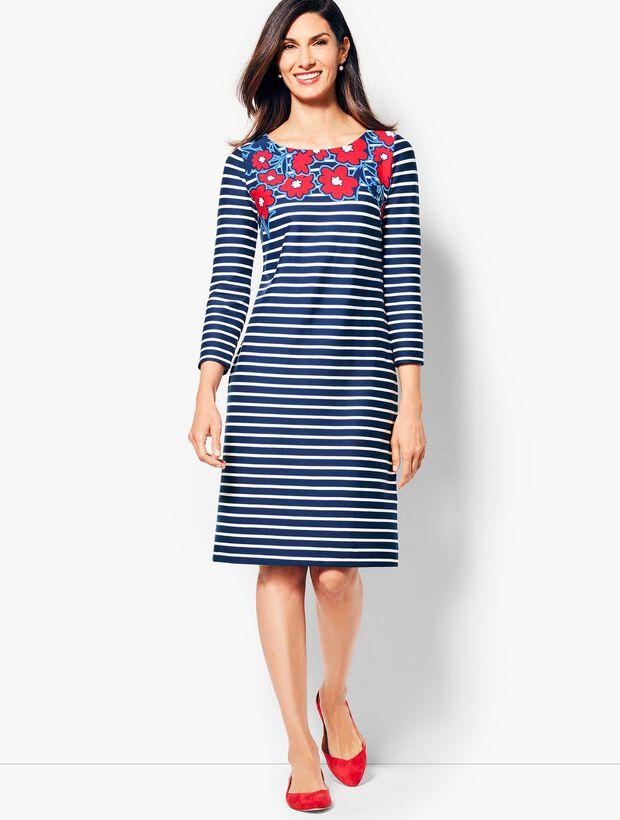 Stripes & Flowers Shift Dress