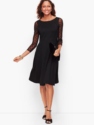 Dot Mesh & Ponte Fit & Flare Dress
