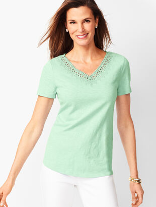 Lace-Trim V-Neck Tee