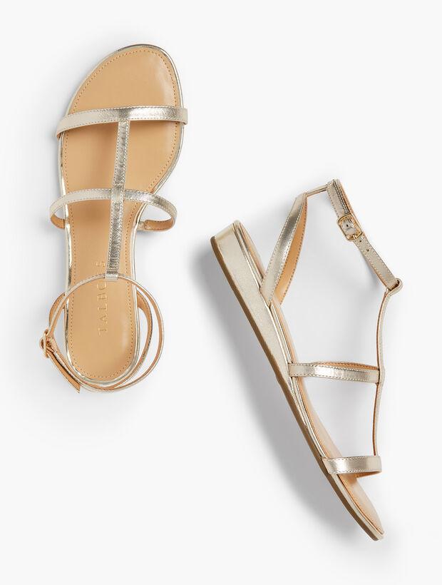 Daisy Gladiator Micro-Wedge Sandals - Metallic
